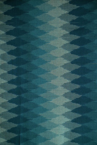 Shades of Blue Grey Ikat Silk Cotton Fabric