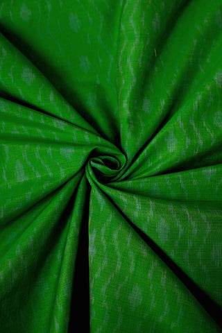 Parrot Green Ikat Silk Cotton Fabric