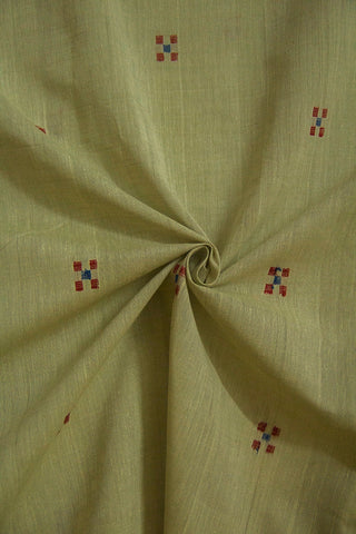 5 Square Butta in Grey Handwoven Cotton Fabric-1 m