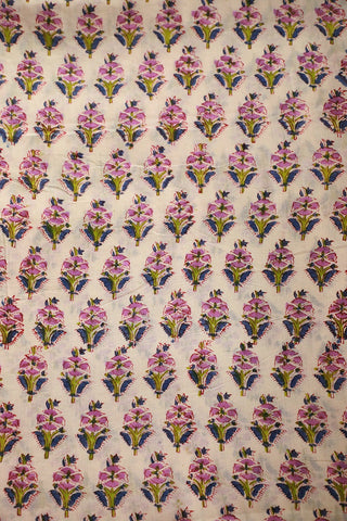 Lavender Floral in Off White Sanganeri Print Mul Cotton fabric
