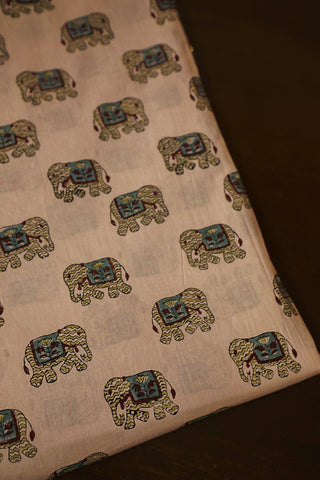 Elephant Block Printed Sanganeri Cotton Fabric