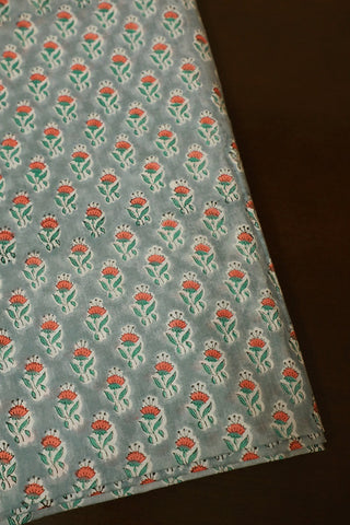 Orange Small Floral Sanganeri Cotton Fabric