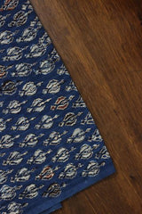 Indigo with Gold Block Printed Cotton Fabric