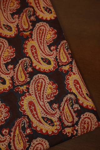 Black with Red Paisley Mul Cotton Sanganeri fabric