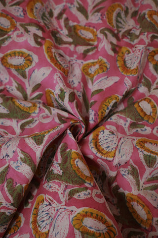 Light Pink with Yellow Mul Cotton Sanganeri fabric-1.1 m