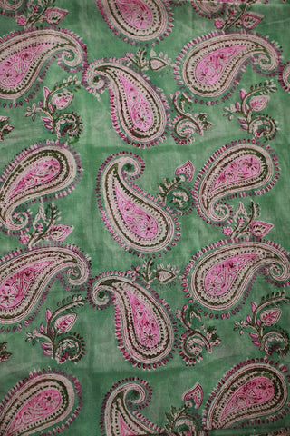 Pink Paisley Mul Cotton Sanganeri fabric
