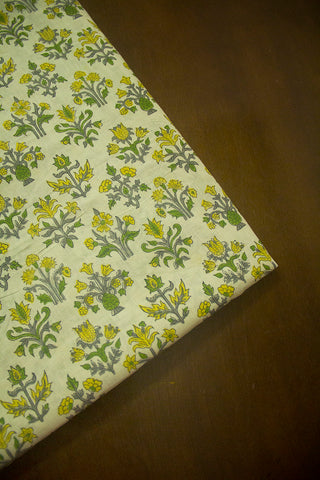Green with Yellow Sanganeri Cotton Fabric