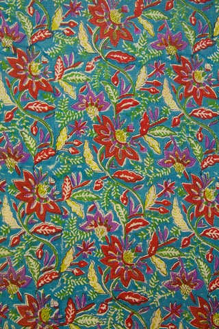 Sky Blue with Maroon Flower Floral Sanganeri Cotton Fabric