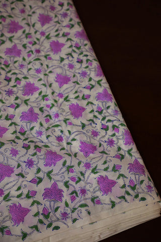 Lavender with Green Floral Mul Cotton Sanganeri fabric