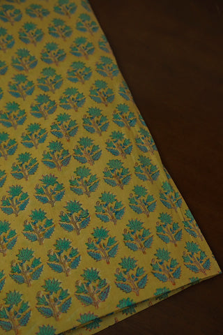 Green Floral and Leaf Mul Cotton Sanganeri fabric