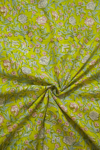 Yellowish Green with Rose Garden Sanganeri Cotton Fabric - 1m