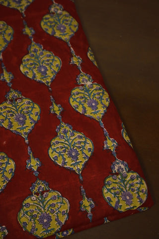 Dark Red Sanganeri Print Mul Cotton fabric