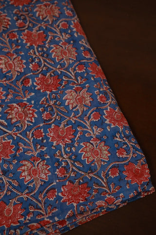 Blue with Peach floral Mul Cotton Sanganeri fabric