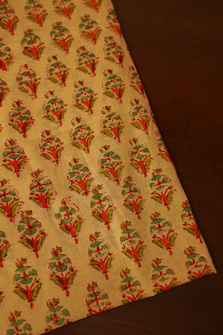 Light Orange with Floral Mul Cotton Sanganeri fabric