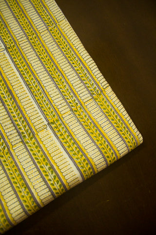 Off White Yellow Yellow Sanganeri Cotton Fabric