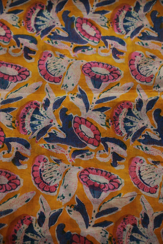 Yellow with Pink and Blue Sanganeri Print Mul Cotton fabric