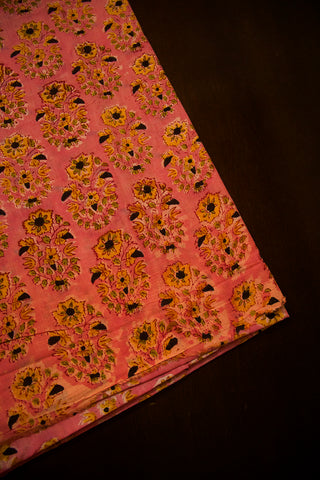 Yellow with Black Flower Sanganeri Cotton Fabric
