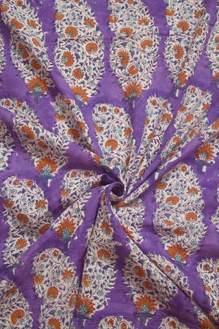 Lavender with Orange Flower Sanganeri Cotton Fabric-0.9 m