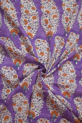 Lavender with Orange Flower Sanganeri Cotton Fabric-1.5 m
