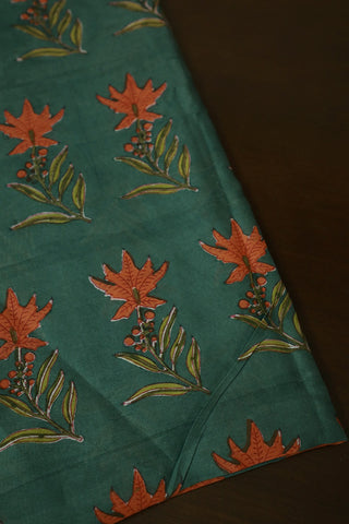 Greyish Blue Sanganeri Chanderi Silk Cotton Fabric