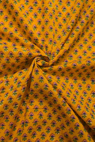 Yellow with Pink Small Flower Sanganeri Cotton Fabric - 1.4m