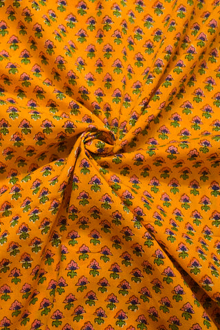 Yellow with Pink Small Flower Sanganeri Cotton Fabric