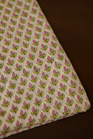 Two Colour Leaf Print Mul Cotton Sanganeri fabric