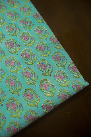 Pink with Green Flower Sanganeri Cotton Fabric