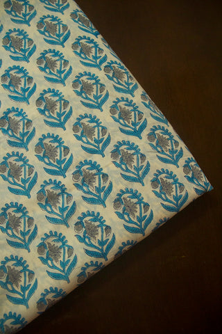 Ramar Blue with Grey Flower Sanganeri Cotton Fabric - 0.5m