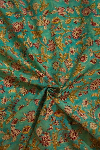 Faded Blue with Maroon Floral Sanganeri Cotton Fabric