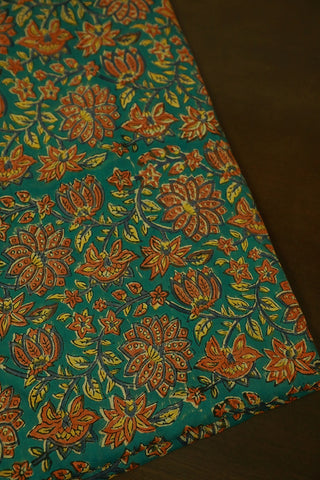 Blue with Orange Florals Mul Cotton Sanganeri fabric
