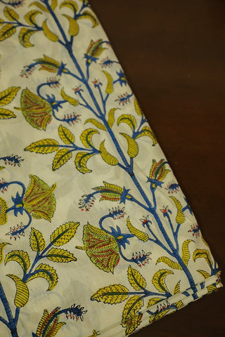 Yellow Green Floral Mul Cotton Sanganeri fabric