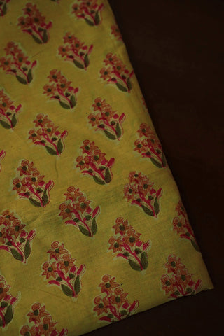Light Yellow Sanganeri Print Chanderi Silk Cotton Fabric