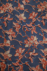 Blue with Peach Mul Cotton Sanganeri fabric-1.2m