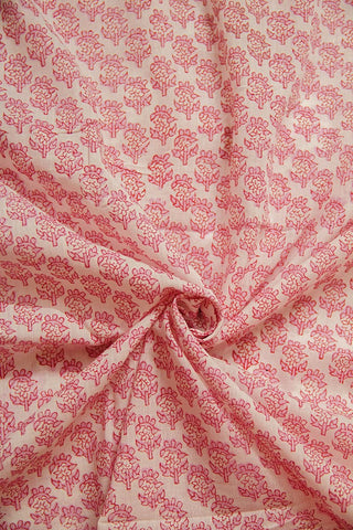 Off White with Pink Sanganeri Cotton Fabric - 0.7m