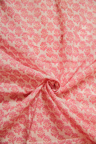 Off White with Pink Sanganeri Cotton Fabric