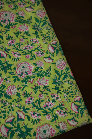 Pink with Green Floral Block Print Sanganeri Cotton Fabric