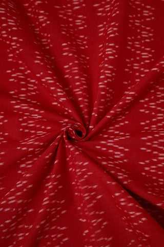 Red with Double Waves Handwoven Ikat Fabric
