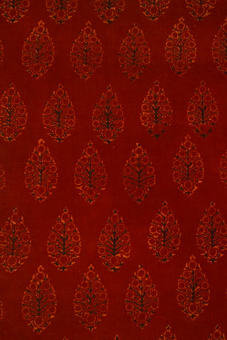 Maroon with Black Intricate Leaf Ajrak Cotton Fabric