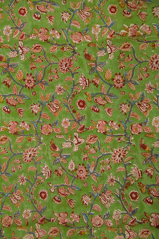 Faded Green with Maroon Floral Sanganeri Cotton Fabric