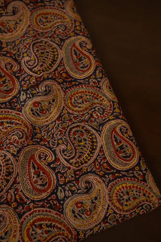 Paisley in Black Mul Cotton Sanganeri fabric