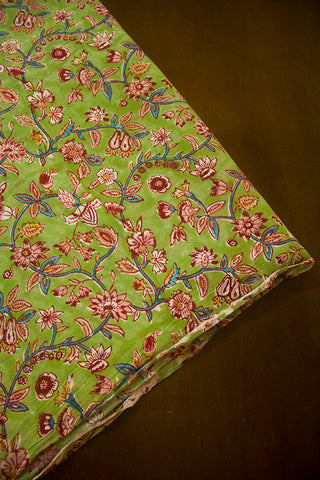 Faded Green with Maroon Floral Sanganeri Cotton Fabric - 2m