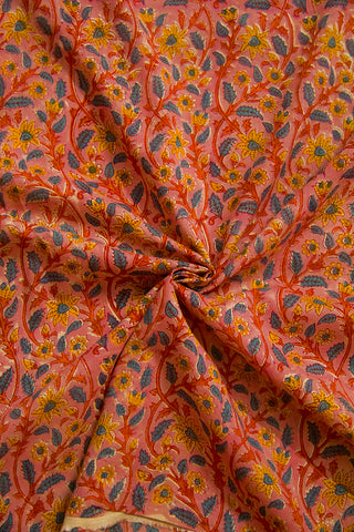 Pink with Yellow and Blue Floral Sanganeri Cotton Fabric