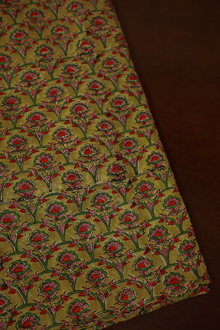 Double Colour Floral Mul Cotton Sanganeri fabric