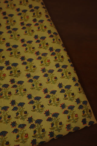 Dark Blue Floral Mul Cotton Sanganeri fabric