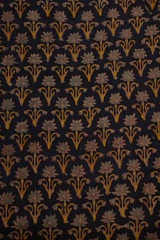 Black Floral Mul Cotton Sanganeri fabric