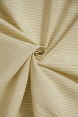 Cream with Beige Lines Yarn Dyed Handwoven Cotton Fabric - 1m