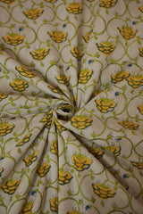 Yellow Floral in Off White Mul Cotton Sanganeri fabric