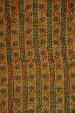 Lines and Floral Mul Cotton Sanganeri fabric