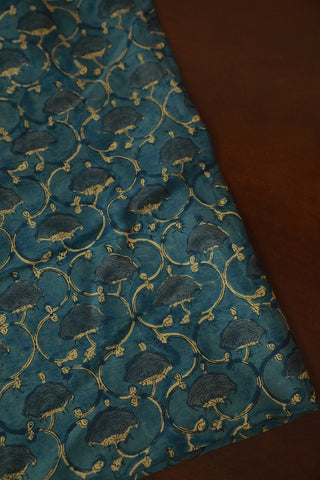 Water-colour Blue Floral Chanderi Silk Cotton Fabric